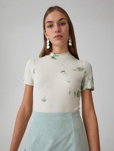 EDITED T-Shirt 'Juana' in grün / weiß: Frontalansicht