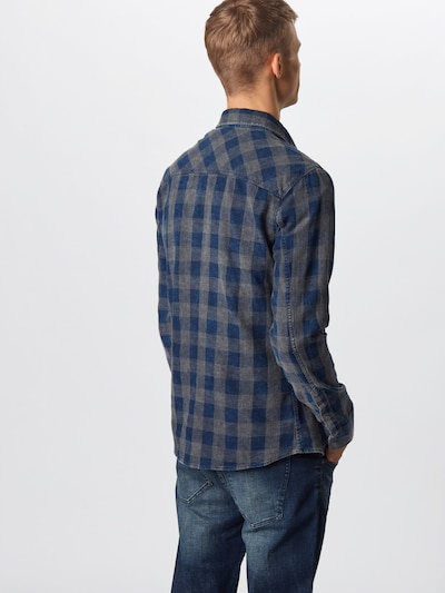 Mavi Hemd in dunkelblau / grau: Rückansicht