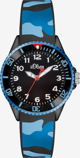 s.Oliver Uhr 'SO-3109-PQ' in blau / himmelblau / hellblau / feuerrot / schwarz / weiß, Produktansicht