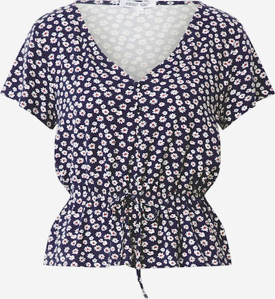 ABOUT YOU Blouse 'Melika' in de kleur Donkerblauw / Wit, Productweergave