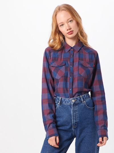 LTB Bluse 'Lucinda' in blau / rot, Modelansicht