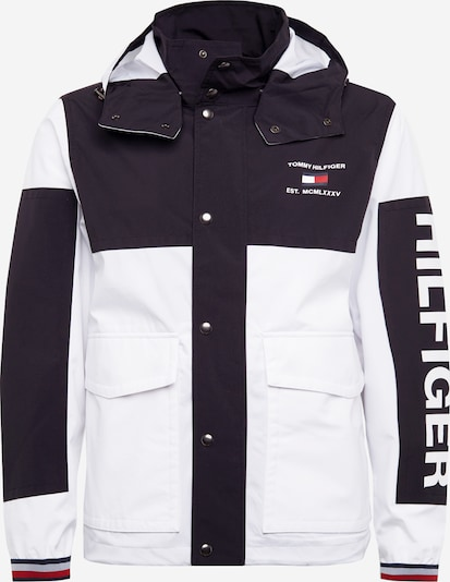 TOMMY HILFIGER Jackel 'COLOURBLOCK DETACH HOODED JACKET' in schwarz / weiß, Produktansicht