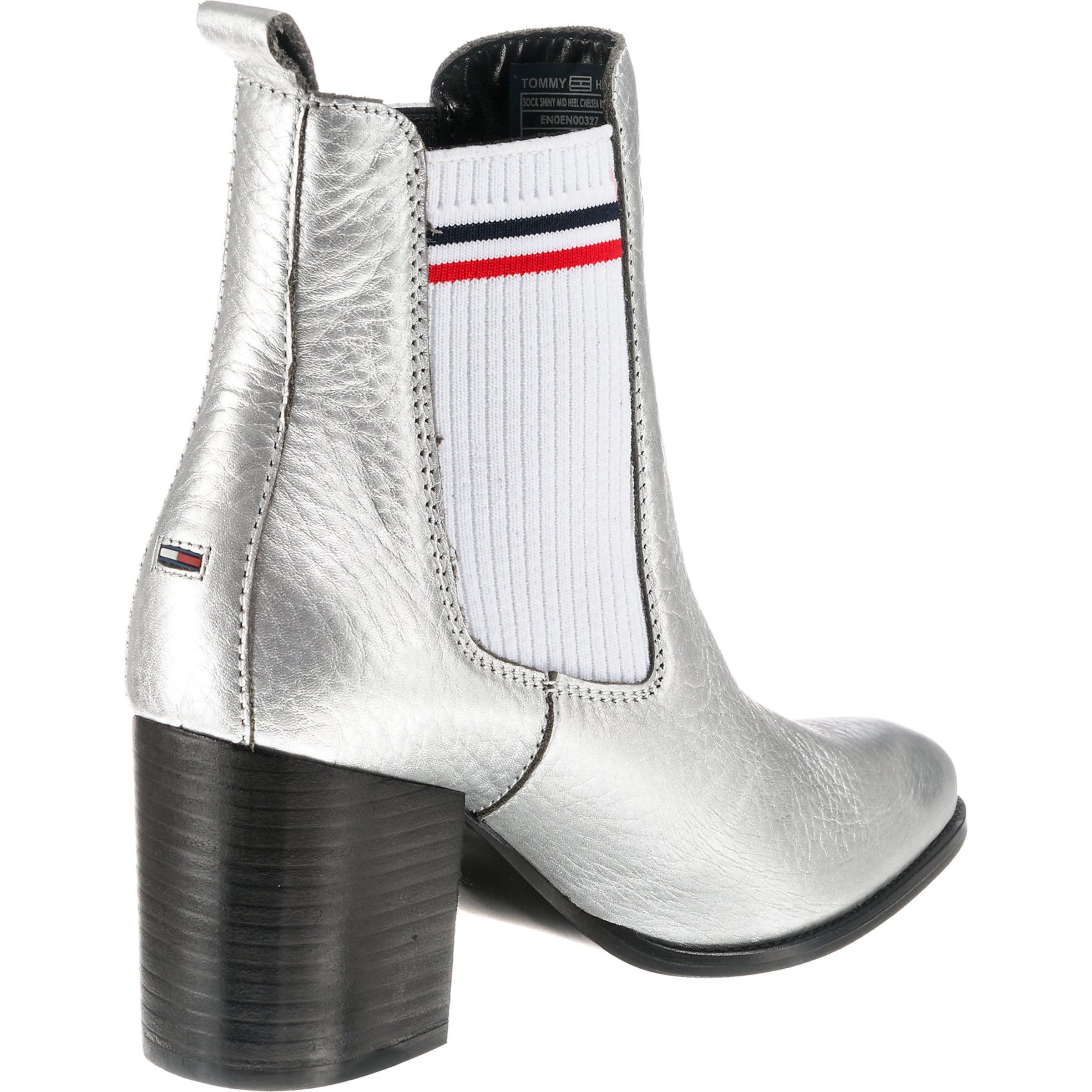 Shiny Mid Heel' Tommy In Weiß Boot 'sock Silber NavyRot Jeans SzMVLUqjGp
