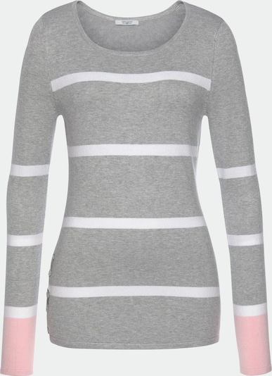 Tom Tailor Polo Team Pullover in graumeliert / rosa / weiß, Produktansicht
