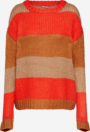 Noisy may Pullover 'NMSTEVE L/S O-NECK STRIPE KNIT' in braun / rot, Produktansicht