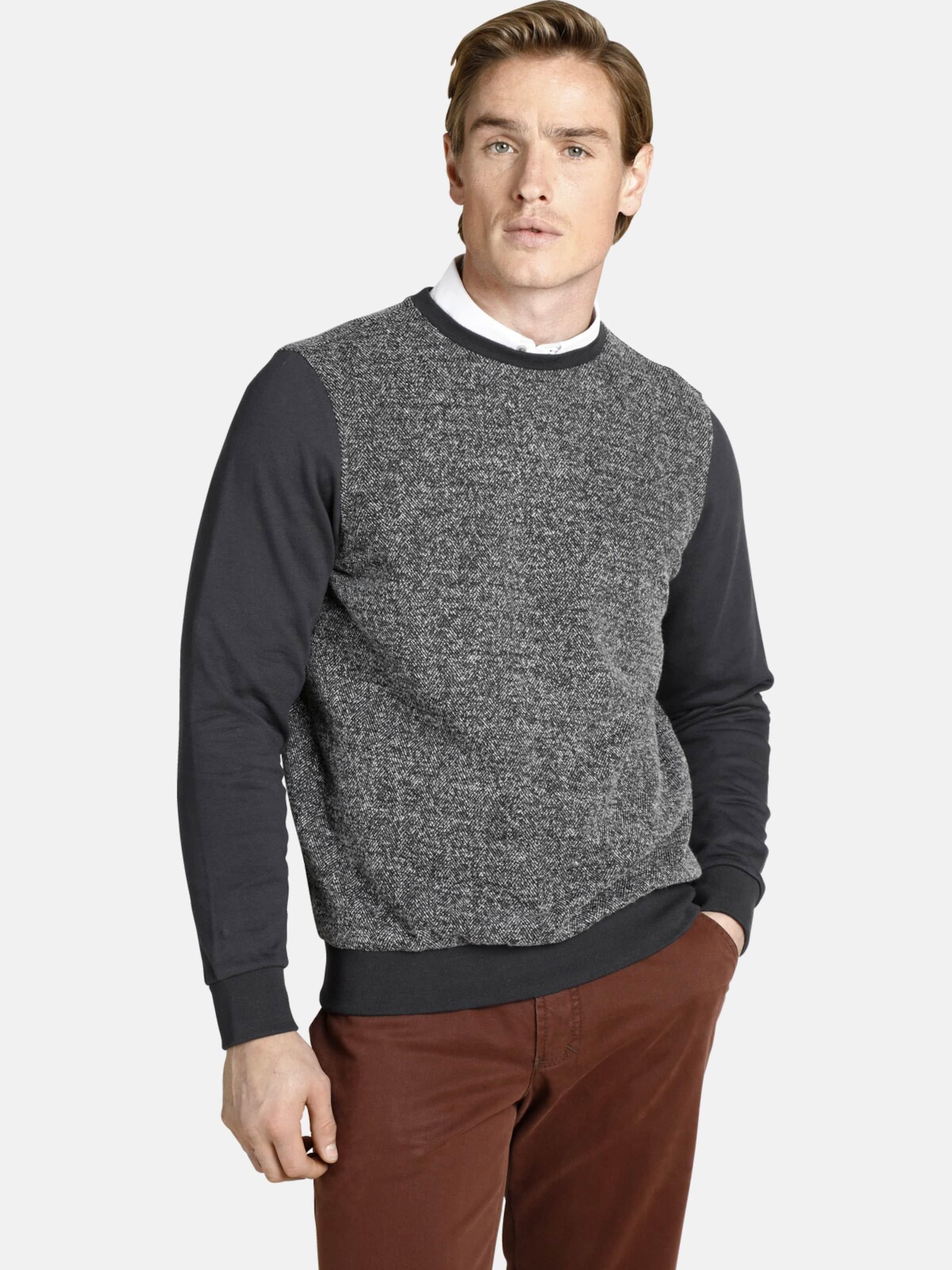 Charles Colby Sweatshirt 'Earl Fergus' in dunkelgrau Sweatstoff C09518-0001
