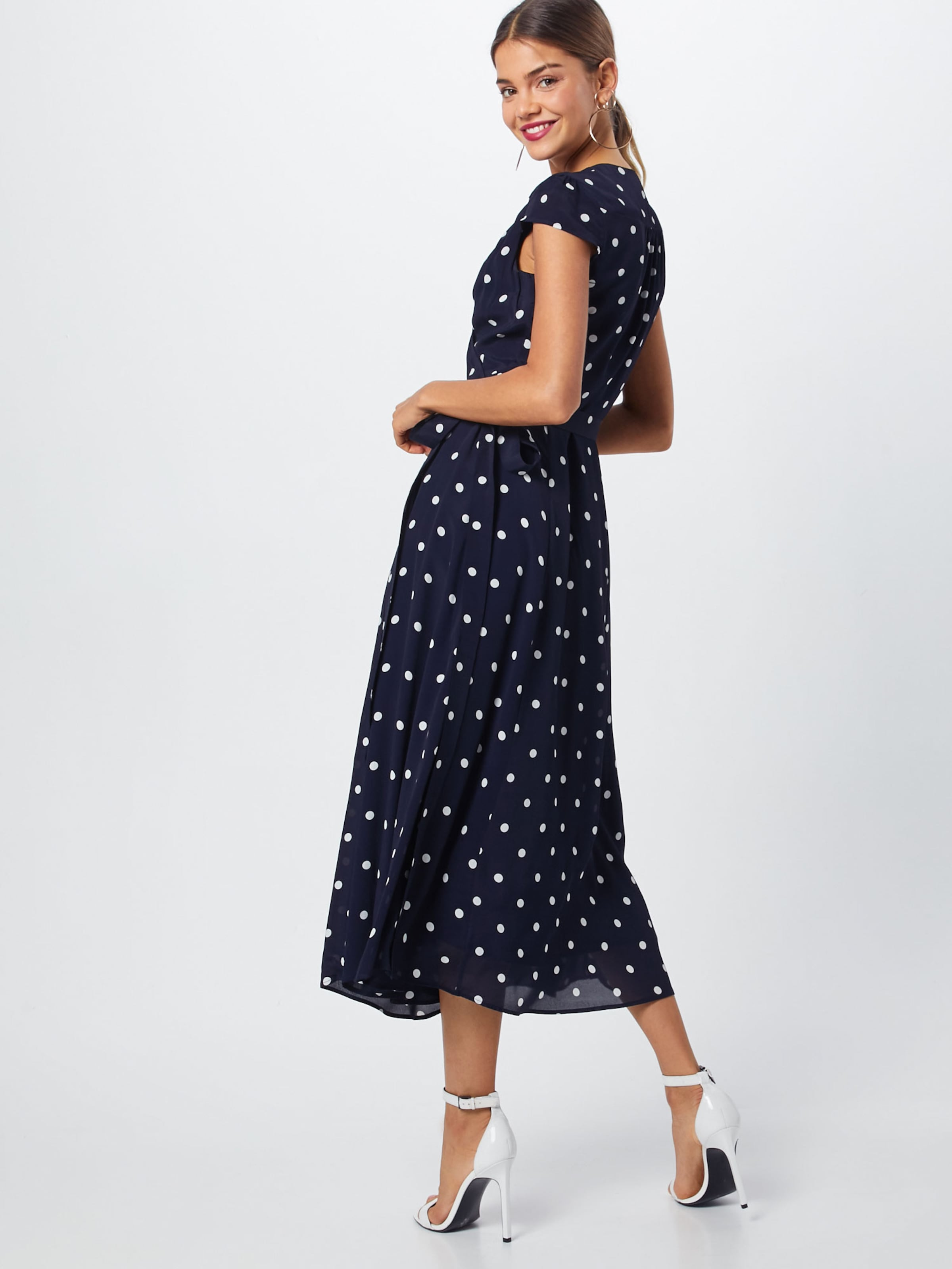 'polka Midi' Wrap Dress Ivyamp; Dot Bleu Robe En NuitBlanc Oak n8k0OwP