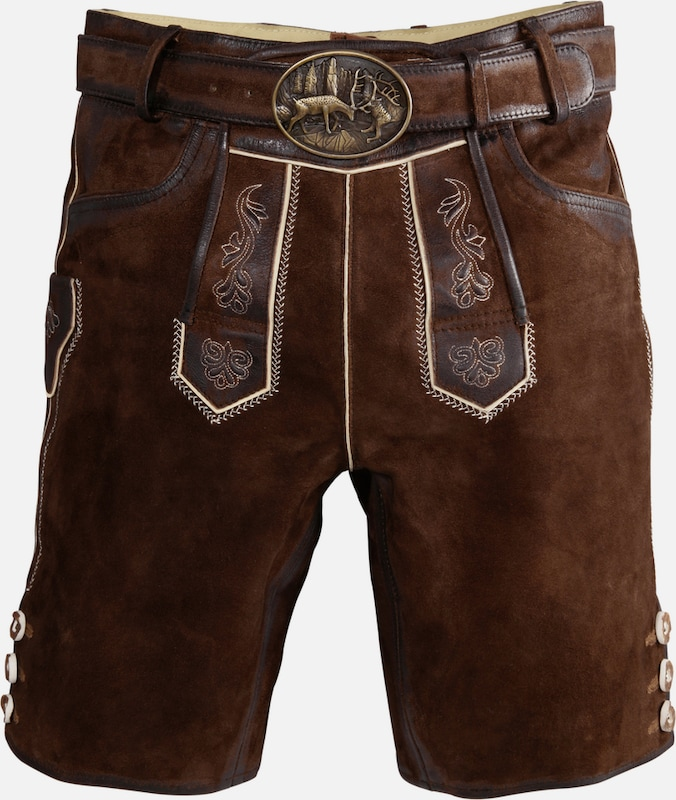 Country Line Short Costume Leather Pants With Belt