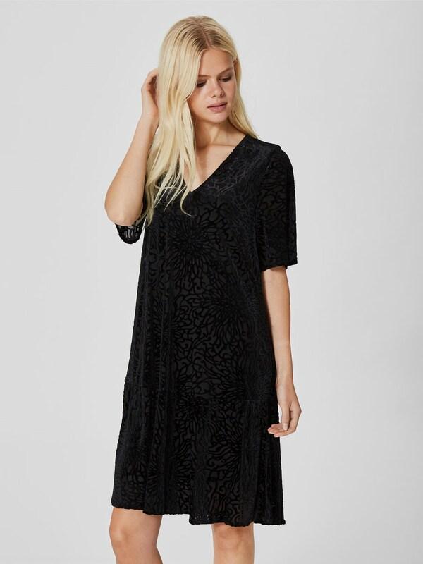 selected femme kleid mit langen rmeln jacquard in schwarz. Black Bedroom Furniture Sets. Home Design Ideas