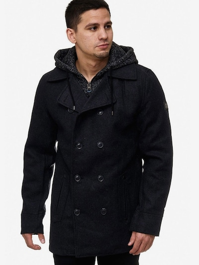 INDICODE JEANS Wollmäntel 'Cliff' in dunkelgrau / schwarz, Modelansicht