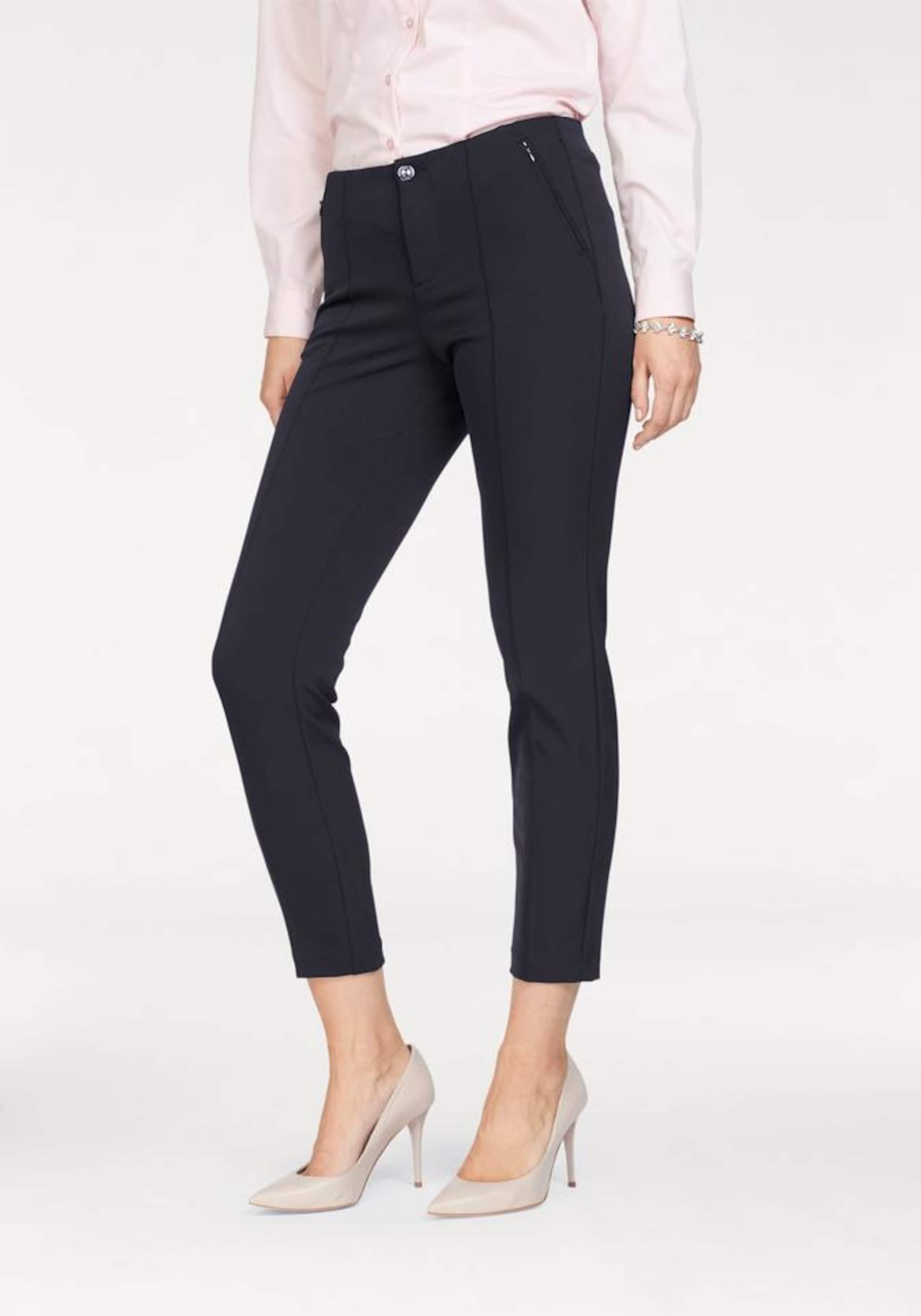 Pantalon En À Mac Bleu Plis 'anna Zip' Marine JFKl1c