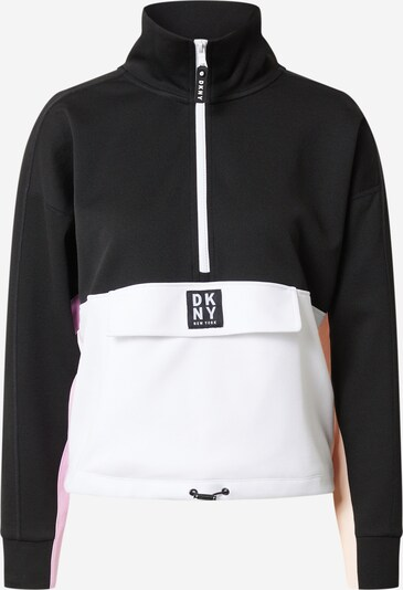 DKNY Performance Tussenjas 'FLIP COLOR BLOCKED HALF ZIP PULLOVER' in de kleur Zwart / Wit, Productweergave