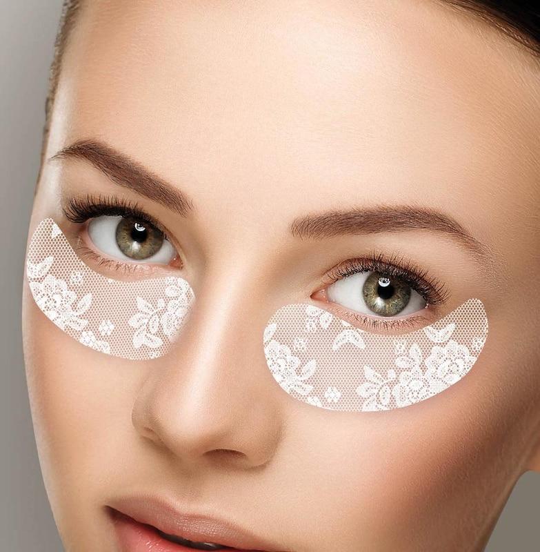 CHIARA AMBRA 'Hydrogel Augenmaske in weißem Spitzendesign', Straffende Maske mit Goldschimmer Effekt, 3-tlg.