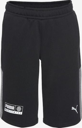 PUMA Shorts 'Alpha' in grau / schwarz / weiß: Frontalansicht