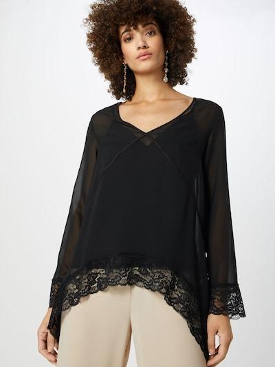 NA-KD Bluse 'asymmetric hem lace blouse' in schwarz: Frontalansicht
