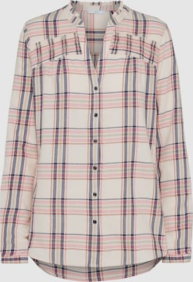EDC BY ESPRIT Blouse 'Scheck' in Crème / Pink / Wit