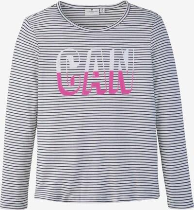 TOM TAILOR T-Shirt Gestreiftes Langarmshirt mit Print in grau, Produktansicht