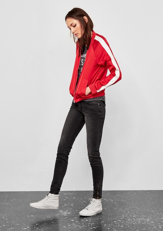 Q S designed by Bomberjacke aus Satin Satin Satin in rot   weiß  Neue Kleidung in dieser Saison 6ecd21