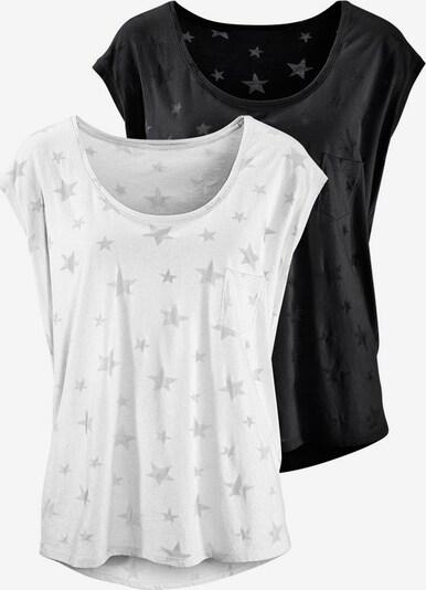 BEACH TIME T-Shirts (2 Stück) in silbergrau / schwarz / weiß, Produktansicht