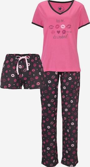 VIVANCE Pyjama in de kleur Donkerroze / Zwart, Productweergave