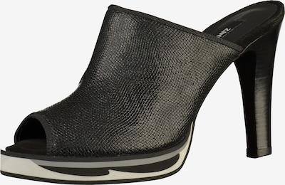 ZINDA Pantoletten in schwarz / weiß: Frontalansicht