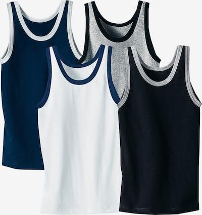 LE JOGGER Unterhemd (4 Stck.) in blau / grau / schwarz / weiß, Produktansicht
