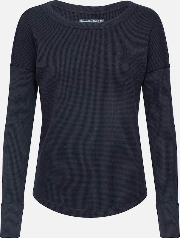 Abercrombie & Fitch Shirt 'WAFFLE' in schwarz: Frontalansicht