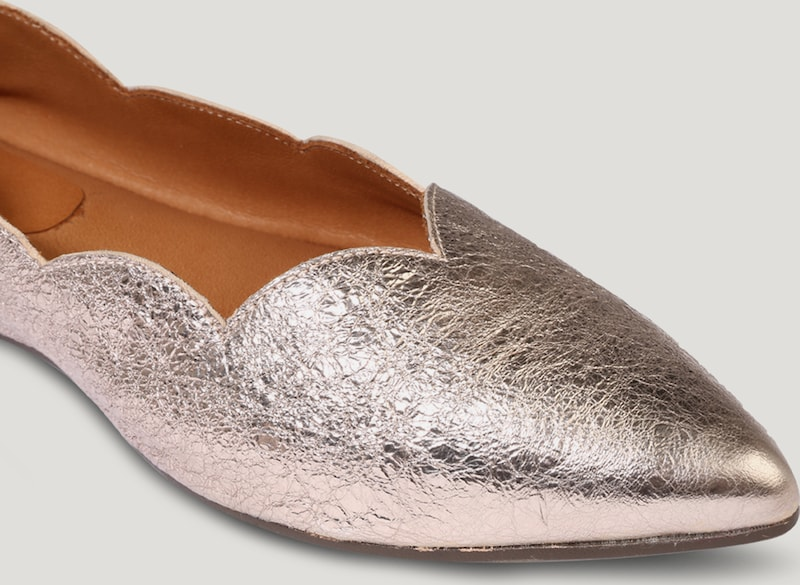 Billi Bi | Ballerina 'Wave' in Metallic-Optik Schuhe Gut Gut Gut getragene Schuhe 806855