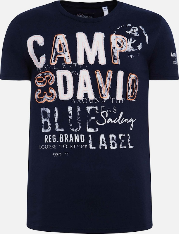 CAMP DAVID T-Shirt in dunkelblau / orange / weiß, Produktansicht