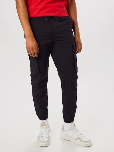 JACK & JONES Sweathose 'JJIGORDON JJFLAKE CARGO PANT AKM BLACK' in schwarz, Modelansicht