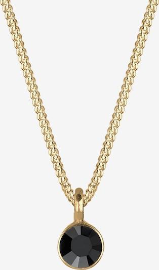 ELLI Halskette Kristall Kette, Solitär-Kette in gold / schwarz, Produktansicht
