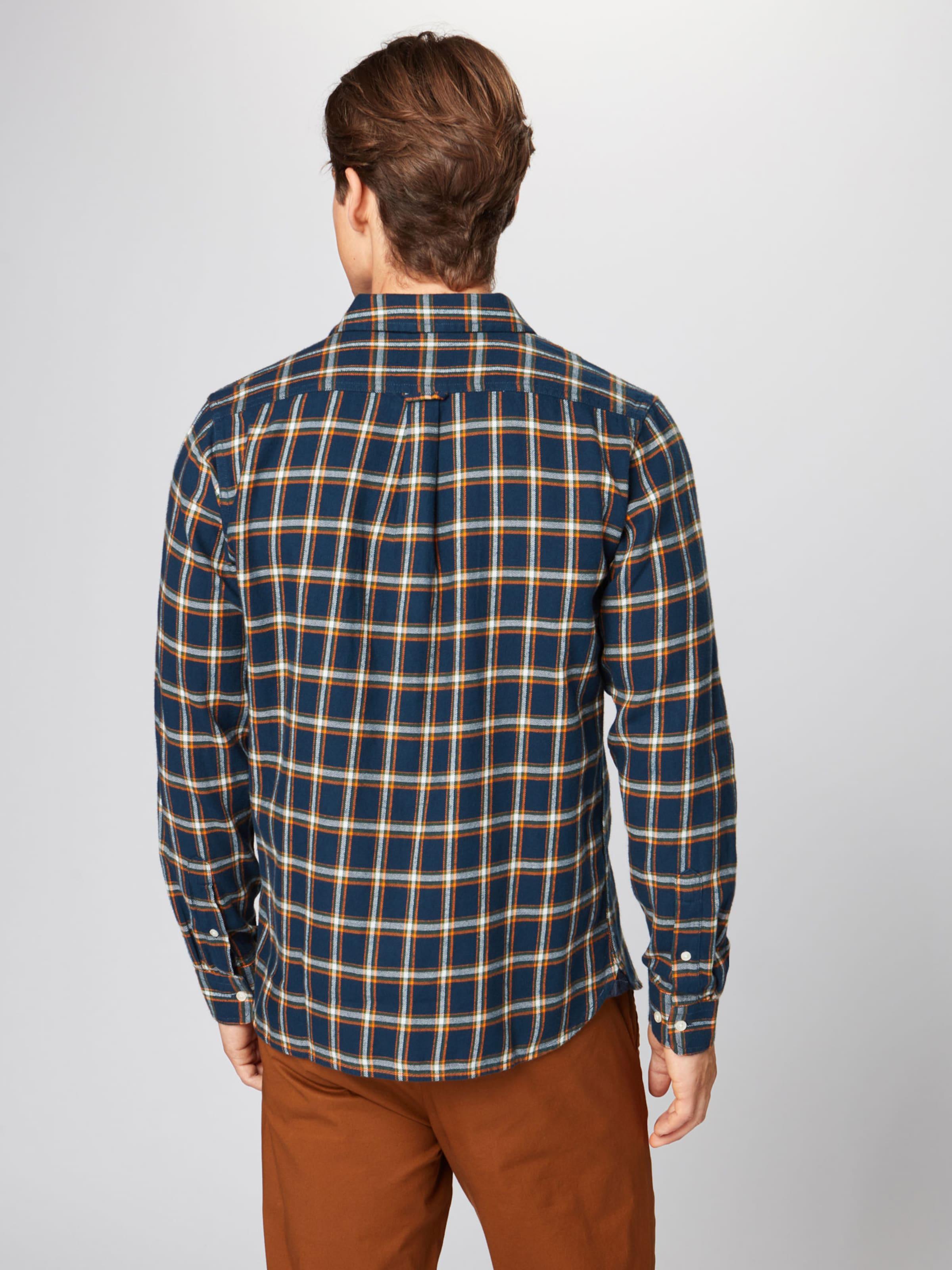 DunkelblauOrange Weiß Knowledgecotton In 'flannel Apparel Checked Hemd Shirt' 1Fcl3JTK