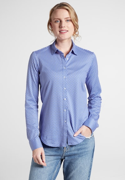 ETERNA Blouse in de kleur Royal blue/koningsblauw / Wit: Vooraanzicht