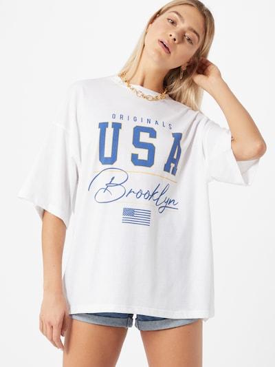 Missguided Oversized tričko 'Brooklyn' - modrá / bílá, Model/ka