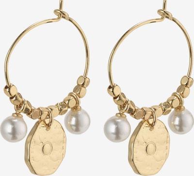 Pilgrim Kolczyki 'Affection' w kolorze złoty / perłowo białym: Widok z przodu