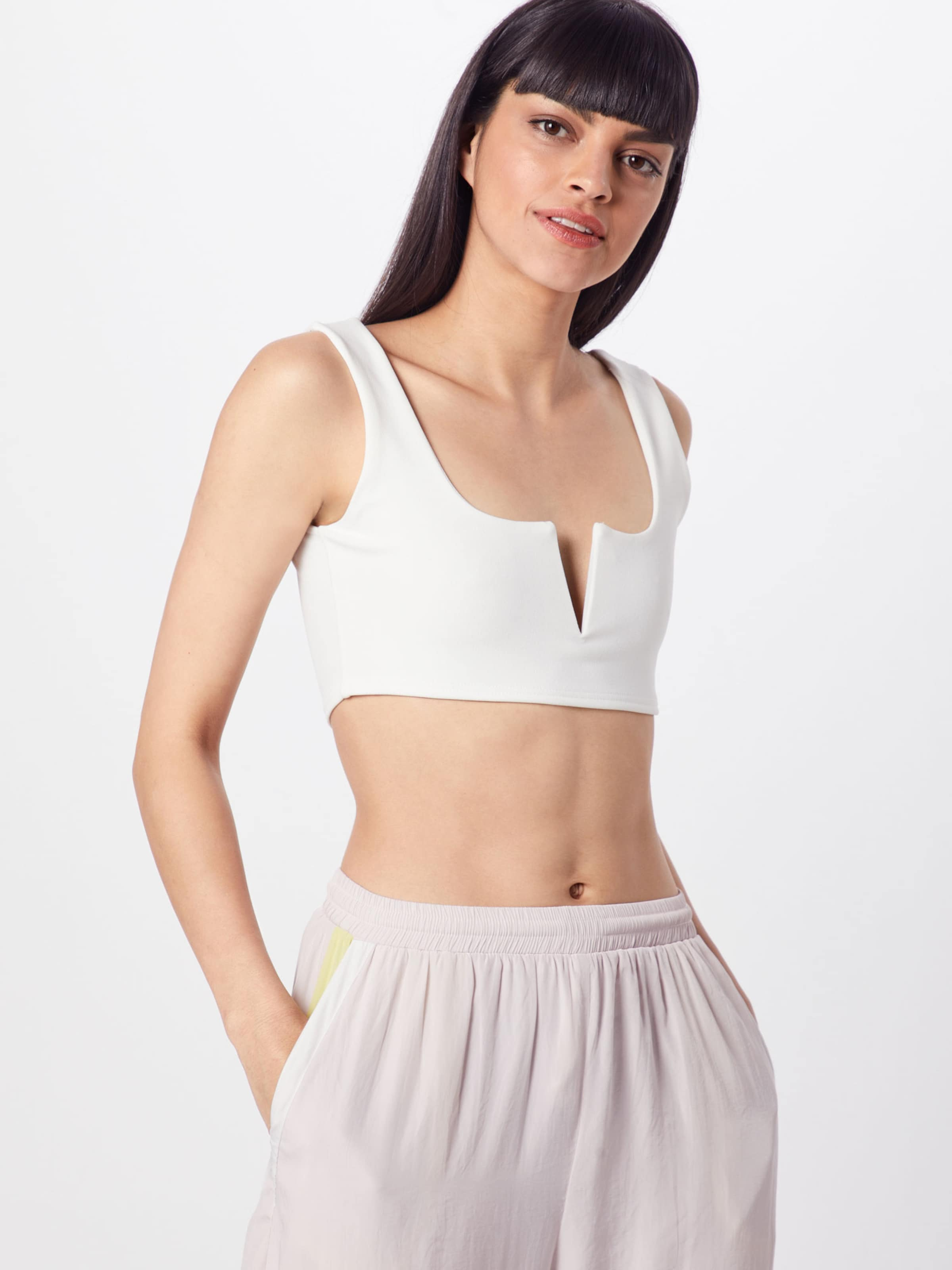 Neck Missguided Haut 'notch Bralet' Blanc En gYb7v6fIy