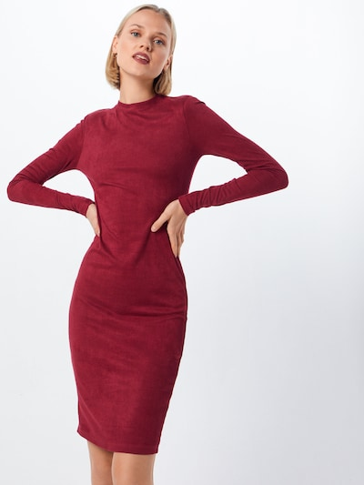 Rochie 'Ladies Peached Rib Dress LS' Urban Classics pe burgund: Privire frontală