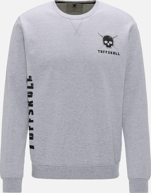 TUFFSKULL Sweatshirt in hellgrau   schwarz  Große Preissenkung