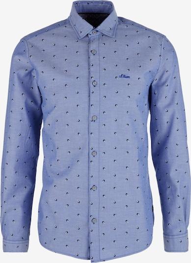 s.Oliver Hemd 'Dobby' in rauchblau / nachtblau / naturweiß, Produktansicht