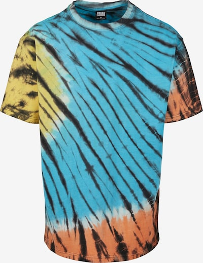 Urban Classics Majica 'Black Tie Dye Oversized Tee' u plava / žuta / crna: Prednji pogled