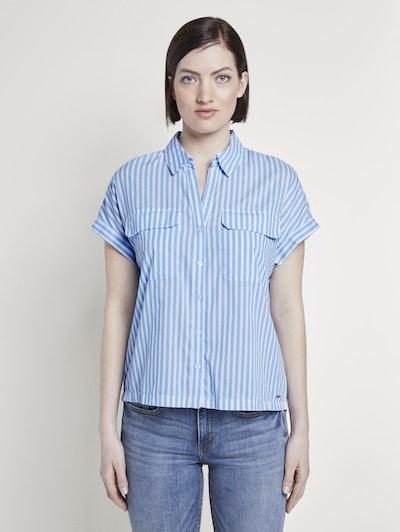 Bluză TOM TAILOR DENIM pe albastru deschis / alb, Vizualizare model