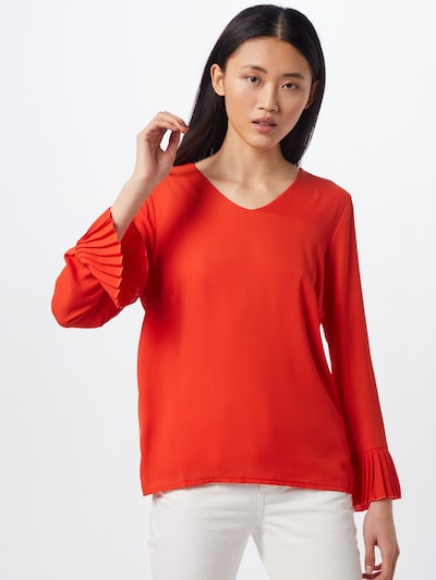 MORE & MORE Damen - Bluse 'Pleated Blouse Shirt' in pfirsich / orangerot, Modelansicht