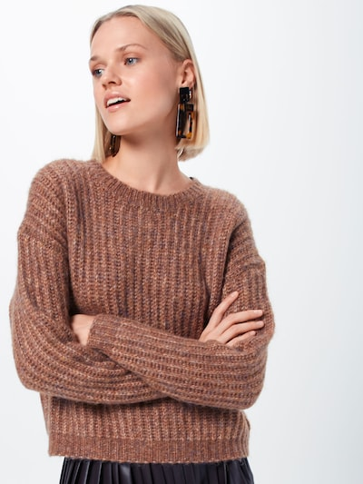 ONLY Pull-over 'CHUNKY L/S PULLOVER KNT' en marron: Vue de face