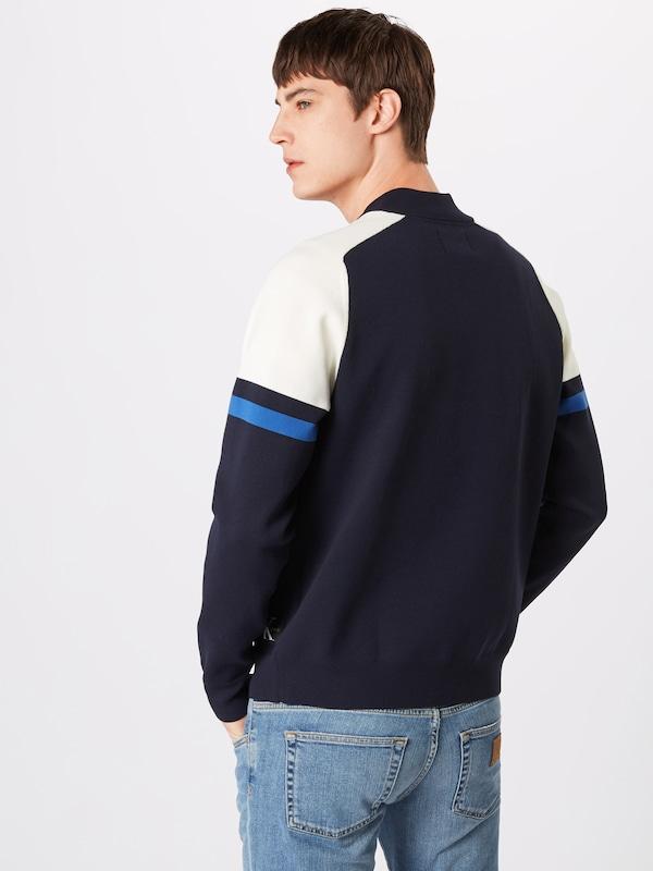 Calvin Klein Bleu Up Sweater' Zip FoncéBlanc Maille 'nylon En Jeans Vestes oexrdCB