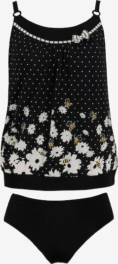 Ulla Popken Tankini 'Biene' in de kleur Zwart / Wit, Productweergave