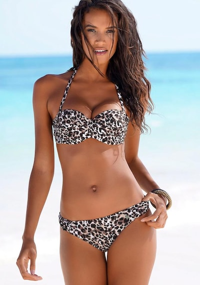 LASCANA Bandeau-Bikini in braun / naturweiß, Modelansicht
