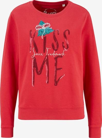 Soccx XMAS FUN Sweatshirt mit Pailletten-Artwork in feuerrot, Produktansicht