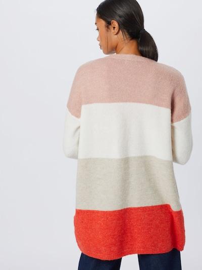 ONLY Cardigan 'ALTINA' en beige chiné / rose / rouge pastel / blanc cassé: Vue de dos