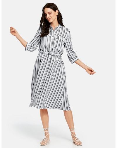 TAIFUN Kleid Langarm kurz Hemdblusenkleid im Streifen-Design in schwarz / weiß, Modelansicht