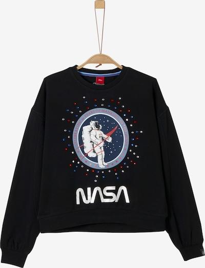 s.Oliver Junior Sweatshirt in blau / rot / schwarz / silber / weiß, Produktansicht